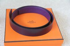 100% Authentic Hermes UltraViolet/Raisin Togo&Calf Leather Belt 32 MM - size 75