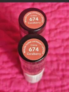 (2) Revlon Super Lustrous #674 Coralberry Creme Lipstick Avocado Oil & Vitamin E
