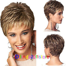 New Brown Pixie Cut Head Wig Short Blonde Costume Party Hair Full Wigs + Wig Cap