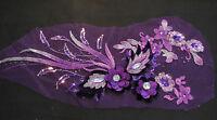 Luxury Large piece Purple & lilac sequins beads floral lace Applique/lace motif