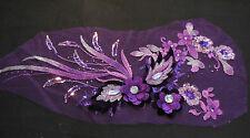 De Lujo grandes piezas violeta y Lila Lentejuelas Perlas Encaje Floral applique/lace Motif