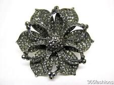 STATEMENT RHINESTONE CRYSTAL LARGE ORCHID FLOWER BOHO RING GREY SILVER