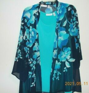 SUSAN GRAVER, 2 PIECE, TOP, 3/4 SLEEVES, POLYESTER/SPANDEX, SIZE 1X, BUST 48""