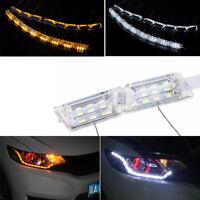 2 Pcs Car Dual Colors DRL LED Strip Light Turn Signal Lamp Flowing Plug&Play DIY