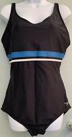 Speedo Size XL 1 Piece Swimsuit Empire Black w/ White Blue Stripe Built in Bra