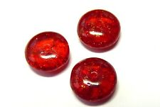 10 (mm) CRACKLED GLASS CZECH GARNET RED RONDELLE/SPACER/FLAT ROUND BEADS - C017