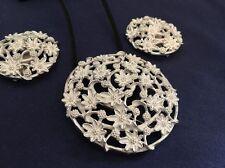 Stunning Emmons 1950s - 60s Set in Whiite Enamel & Silver Brooch Clipon Earrings