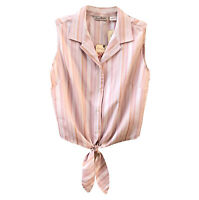 NWT Tommy Bahama Top Svelte Stripe Knot Tie Pink Cream Silk Retail 85.00 Size 4