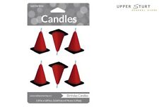 Construction Cone Moulded Candles 6 Pack Racing Party Supplies FREE DELIVERY