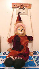 """Clown on Wooden Swing -19""""- Collectible-Burgundy & Orange Costume-Porcelain Face"""
