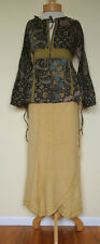 New_Beautiful Printed Shirt_Peasant Boho Empire Waist Cotton Top with Lace_S, M