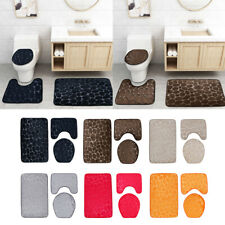 3PCS Bathroom Mat Set Toilet Lid Cover Pebbles Pattern Water Absorbent