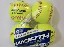 """Worth Wcs12 12"""" Slow Pitch Official League Softball Yellow 4-Pack"""