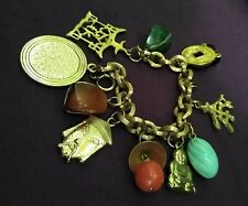 "Vintage Asian Good Luck Charms & Stones Charm Bracelet ""Enjoy Yourself it's ...."
