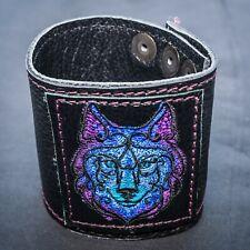 Celtic Wolf Leather wrist cuff wristband Biker Gothic Larp arm protector