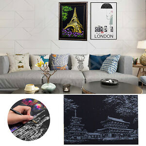 Magic Scratch Art Painting Paper Light Up City with Drawing Stick Adult DIY Gift