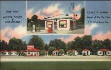 Woodbine GA Route 17 Esso Gas Station & Motor Court Linen Postcard