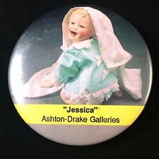 Vtg 1989 Ashton Drake Galleries Pinback Jessica Button Pin 2.25""