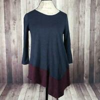 Three Dots small Reversible Colorblock Asymmetric 3/4 sleeve pullover Top