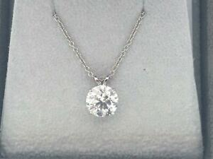 DIAMOND GOLD PENDANT NATURAL ROUND CUT SOLITAIRE NECKLACE 14K WHITE GOLD 0.75 ct