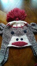 SOCK MONKEY HAT 100% virgin acrylic Brown ADULT/TEEN animal costume  Reg $45.34