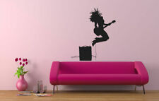 Wall Vinyl Sticker Room Decals Mural Design Girl Rock Star Music Guitar bo1416