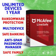 McAfee LiveSafe 2021 unbegrenzt / unlimited Geräte 1 Jahr / Win Mac iOS Android