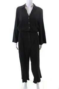 Free People Womens Long Sleeve V Neck Straight Leg Cropped Pants Black Large
