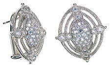 Judith Ripka Diamonique Oval Stud Sterling Silver Earrings