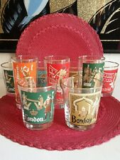Set Of 9 Unique Mix & Match Barware Glasses With Gold .