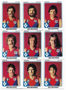 1981 Scanlens MELBOURNE Team Set (14 Cards)