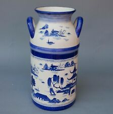 "18.5"" CHINESE CERAMIC MILK CAN HAND PAINTED BLUE & WHITE UMBRELLA STAND & VASE"