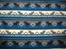 Moose Stripe Teal/Greys Fleece Throw Blanket
