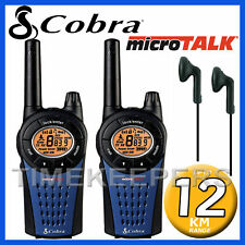 12km COBRA mt975 Walkie Talkie 2 due vie PMR 446 Radio Twin + 2 xheadsets