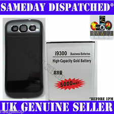 EXTENDED 5000mAh GOLD BATTERY FOR SAMSUNG GALAXY S 3 S3 i9300 WITH BLACK COVER