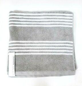 NEW CALVIN KLEIN GRAY,WHITE STRIPE OEKO-TEX 100% COTTON BATH TOWEL