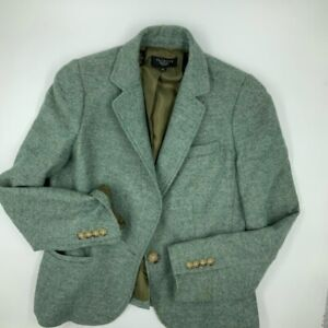 Talbots Womens Tweed Suit Jacket Blazer Green Long Sleeve Pockets Petites 10P