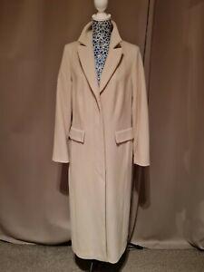 Kirsten Womens Long Beige Wool Coat UK 12/14