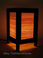 Asian Oriental Bamboo Art Bedside Table Lamp Wood Shades Desk Night Light
