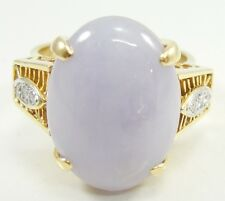 18K Yellow Gold Lavender Jade Ring Diamond Size 8.25 Oval Cabochon