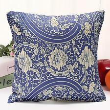 Vintage Oriental Blue Floral Cotton Linen Cushion Cover Pillow Case Home Decor C 45 X 45cm