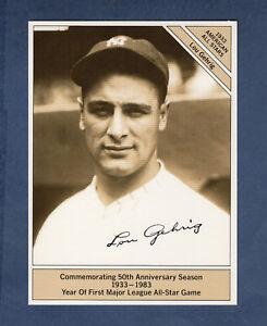 "#3 LOU GEHRIG, Yankees~1983 Marketcom GIANTsize 4.5""x 6"" Conlon 1933 All-Star VG"