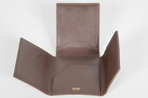 Tom Ford New Smooth Brown 100% Calf Leather 4 Panel Wallet Card Holder Italy