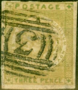New South Wales 1850 3d Yellow-Green SG39 Fine Used