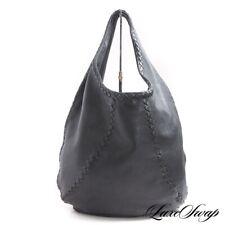 Bottega Veneta Made Italy 212741V174R Black Deerskin Leather Intreccio Hobo Bag