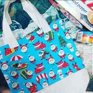 christmas gift shopping bag practical cotton fabric sewn bag re-usable handmade