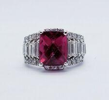 Red Rubellite Tourmaline & Diamond Ring $18,500 7.21Ctw 18kt White Gold Purplish