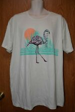 Mens Ecru Flamingo Print Univibe Short Sleeve Tee Shirt Size XXL NWT NEW