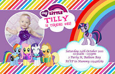 Personalised Rainbow My Little Pony Birthday Invitations Party invites FREE GIFT