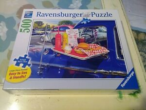 New Ravensburger 500 pc Jigsaw Puzzle Drive-Thru Route 66 Classic Cars Large